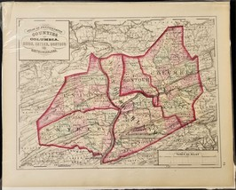 1876 antique COLUMBIA UNION SNYDER MONTOUR NORTHUMBERLAND MAP from Atlas... - $42.50