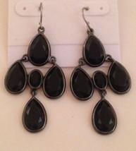 """Vintage 4 Black Stone Silver Plate Pierced Earrings 2"""" - $4.95"""