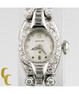 Hamilton Platin Diamant Vintage Damen Automatik Uhr Aicherheitskette - $2,142.86