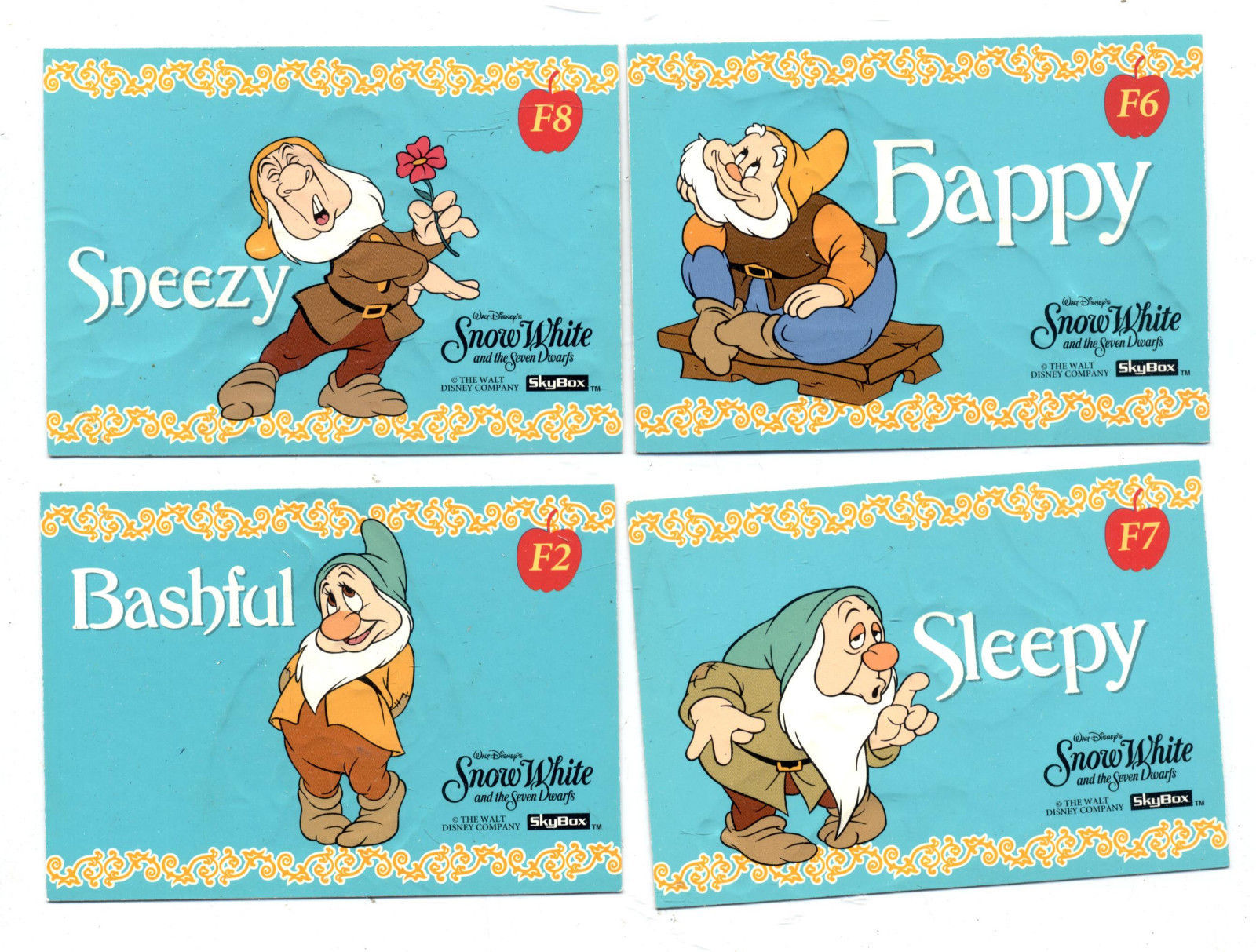 Walt Disney Snow White & The Seven Dwarfs (4) Skybox Embossed Foil Chase Cards