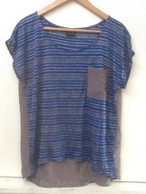 Womens Mod Lusive Blue & Gray Striped High Low Knit Top S Small - $9.95
