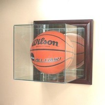 Wall Mounted Basketball Glass Display Case with Cherry Wood Molding - $119.99