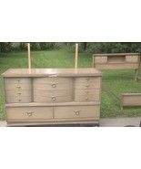 Mid-Century 8-Drawer Dresser-Curved Drawers &Mirror &Bookcase Bed Frame;... - $369.99