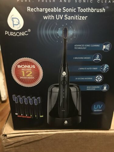 Pursonic S750 Sonic Toothbrush with UV Sanitizing Function, Black, 1.5 Pound-NEW