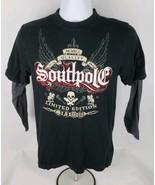 Southpole Mens T-Shirt Sz S Sm Raglan Limited Edition Black Gray Skull G... - $11.66