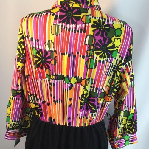 Vtg Op Art Groovy Rainbow Flower Power Velour Dress Mod Hostess Hippie XL Volup