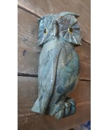 Vintage JADE Carved OWL Statue Yellow Eyes 8.25 inches - $1,029.59