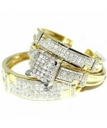 14K Yellow Gold Over Diamond Wedding Set Bridal Engagement Ring His And ... - $134.12