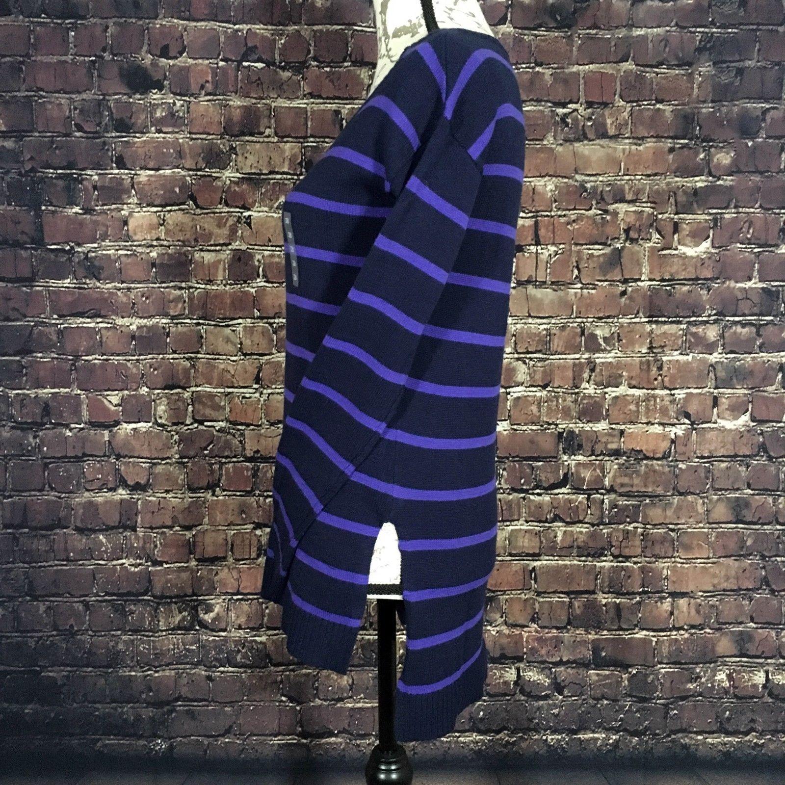 NEW Arizona Womens Purple Striped Long Sleeve Hi-Lo Tunic Sweater Size XSmall