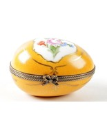 Limoges La Seynie Peint Main Foliate Floral egg Shape Trinket Box - $93.07