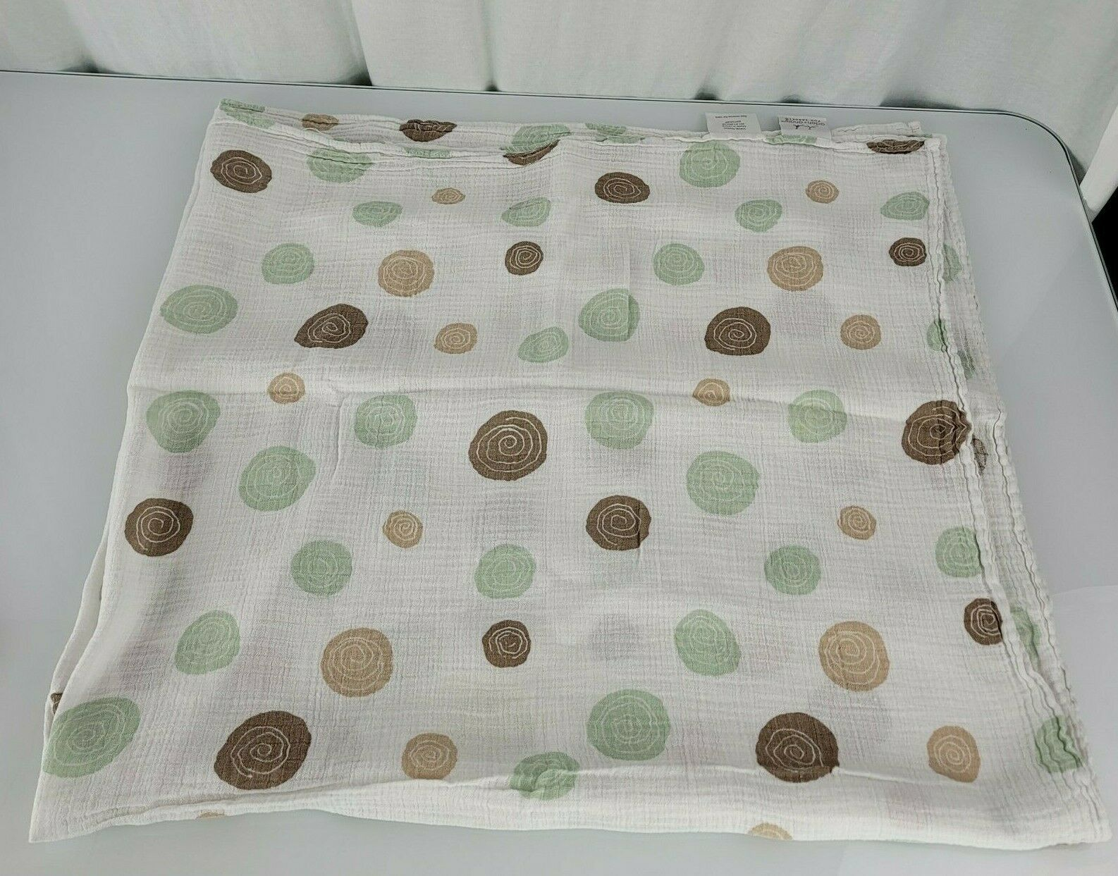 Primary image for Aden + Anais Mint Green Tan Brown White Polka Dot Circle Swirl Baby Blanket
