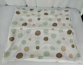 Aden + Anais Mint Green Tan Brown White Polka Dot Circle Swirl Baby Blanket - $33.35