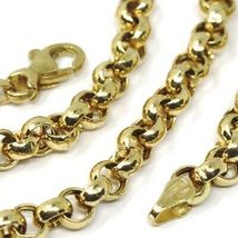 """18K YELLOW GOLD CHAIN 19.70"""" INCHES 50cm, BIG ROUND CIRCLE ROLO THICK 4 MM LINK image 6"""