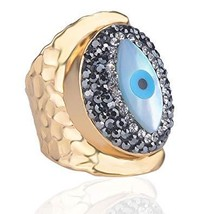 Jeka Evil Eye Rings for Women Girls Elegant Cuff Jewelry 18K Gold Plated... - $23.59