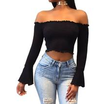 Women Short Knitted Sweater Off Shoulder Crop Tops Flare Sleeve Pullover... - $23.01