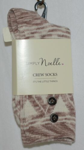 Simply Noelle Cream Tan Crew Sock One Size Fits Most