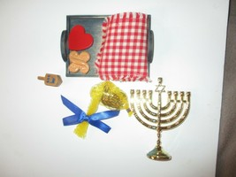 American Girl Doll Hannukah Set Gold Menorah, Challah,Dreidel,Chocolate Coins & - $49.49