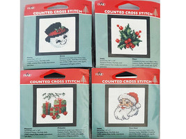 Plaid Counted Cross Stitch Kit With Frame, Set of 4