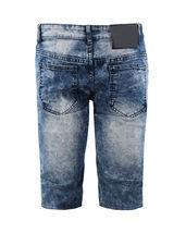 Men's Distressed Denim Faded Wash Slim Fit Moto Quilt Skinny Jean Shorts image 15