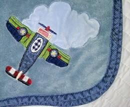 LAMBS & IVY Baby Boy Blue Fleece Airplane Corduroy Trim Blanket Lovey Cloud - $17.42