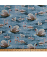 Swans Swans Birds Waterfowl Nature Blue Cotton Fabric Print by Yard D371.30 - $12.95