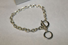 NIB 2009 AVON Silvertone Chain Link REGAN Charm Bracelet Toggle Clasp AV7 image 3