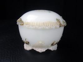 Antique Plumes & Pleat White Milk Glass Vanity Jar Dresser Trinket Box D... - $18.52