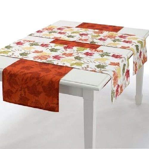 Fall Thanksgiving Autumn Maple Leaves Reversible Table Runner Set (3)