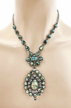 Vintage Inspired Pendant Statement Necklace Earrings Fake Abalone Fake H... - $19.00