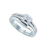 14K White Gold Princess Diamond Halo Bridal Wedding Engagement Ring Band Set 1/2 - £873.03 GBP