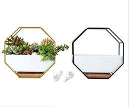 Geometric Wall Planters, Geometric Terrarium, Hexagon Wall Planters, Cer... - $38.99