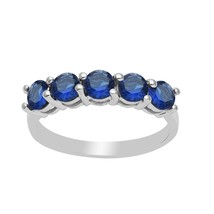 Eternity Blue Cubic Zirconia Stacking 925 Silver Ring Jewelry Women Stac... - $13.43
