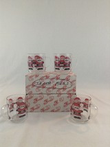 Vintage Set Of 4 Luminarc Glass Clear Christmas Holiday Santa Claus Coff... - $23.36
