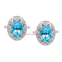 925 Sterling Silver Natural Citrine & Cz Gemstones Men's Gold Plated Cufflinks - $99.00