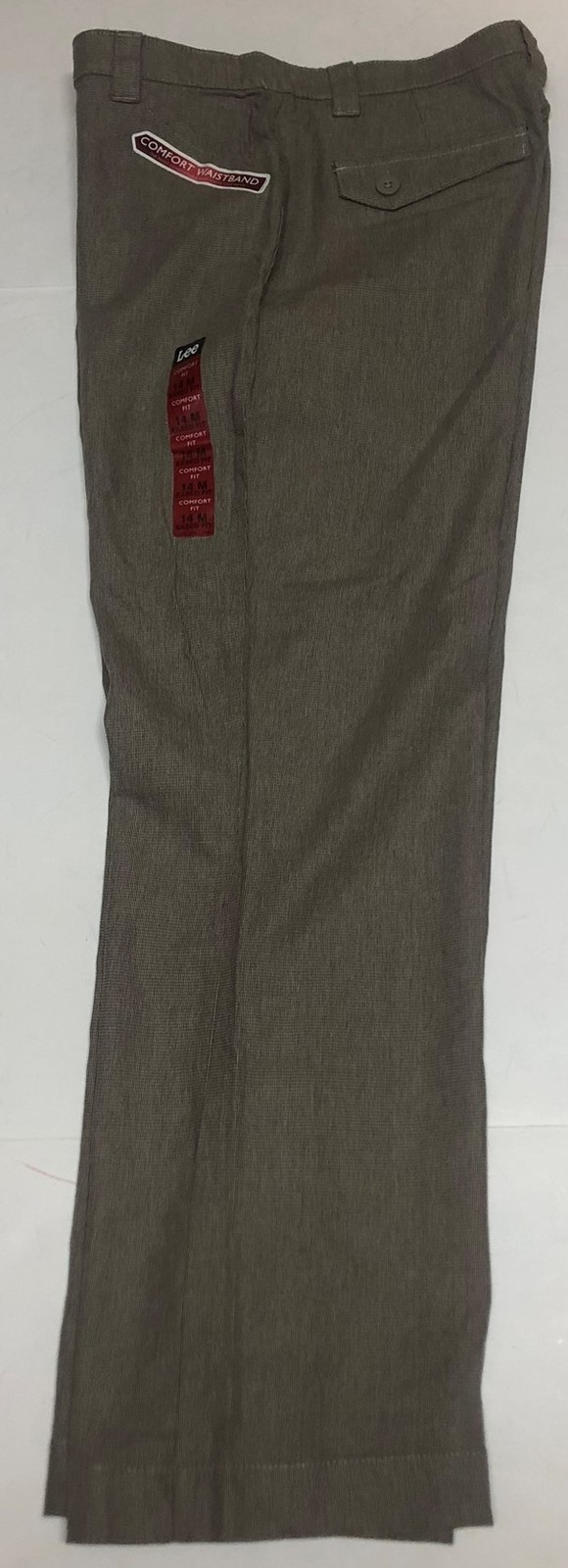 Lee Comfort Fit Casual Pants Women's Sz 14M Gray Small Plaid image 9