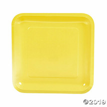 Yellow Paper Square Dinner Plates, Set of 18, Choose from 18 colors - $13.14