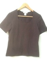 Eddie Bauer Knit Top Women's Brown Short Sleeve Shirt S Small - $12.95