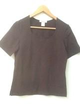 Eddie Bauer Knit Top Women's Brown Short Sleeve Shirt S Small - $12.95
