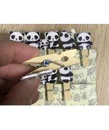 10pcs Panda Pegs with twine,Photo Wooden Clips,Pin Clothespin,Birthday G... - $3.70