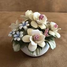 Vintage Capodimonte Italian Porcelain yellow arrangements Flower figurine  - $34.50