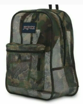 """JanSport Mesh Backpack Student Green Brown Black Camo Camouflage 17""""x14""""x6.5""""  - $19.59"""