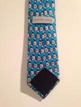 Geoffrey Beene Aqua Blue White Floral Motif Neck Tie Silk image 2