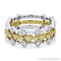 0.43 ct Diamond Wedding Band 14k White & Yellow Gold Stackable Anniversa... - $1,029.99