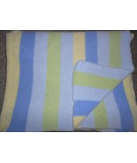 Carters Just One Year Comfy Cozy Blanket Chenille Stripe Blue Yellow Gre... - $33.54
