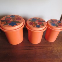 3 Vintage Rubbermaid Nesting Orang Plastic Canisters Lid 70's Retro Flow... - $23.76
