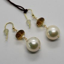 Yellow Gold Earrings 18K 750 Pearls Water Dolce and Quartz Beer Made in Italy image 5