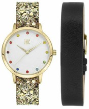 I.N.C. Women's Glitter Faux Leather Strap Watch 36mm with Interchangeable strap