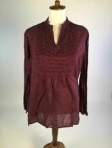 Greater Good Women Blouse Top XL Purple Pleated Pintuck V-Neck Embellish... - $19.23