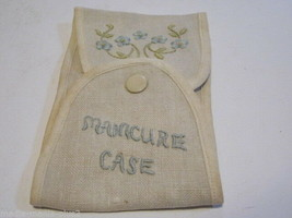 VINTAGE BAKELITE HANDLED MANICURE SET WITH EMBROIDED CLOTHE CASE - $9.99