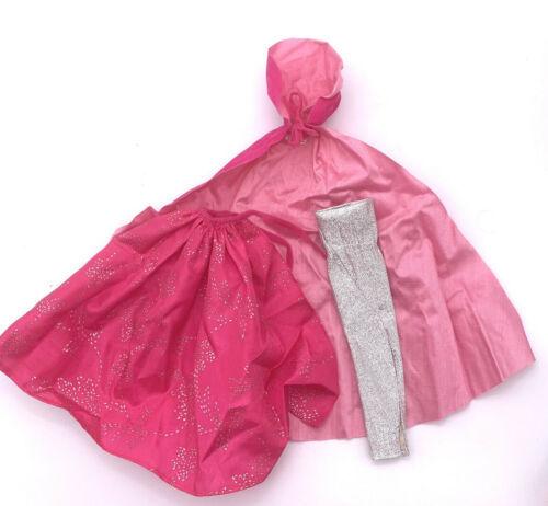 Barbie Clothes: 1983 Silver Sensation Pink Hood Velvet Cape, Skirt, Silver Dress - $21.78